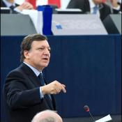 European Commission President José Manuel Barroso during the Budget 2011 debate, next to him is Budget Commissioenr Janusz Lewandowski, Strasbourg Tuesday 23 November 2010