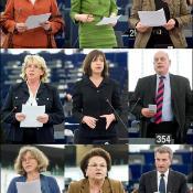European Council representative Enikő Győri, EPP Corien Wortmann-Kool, S&D Marita Ulvskog, ALDE Lena Ek, Verts Rebecca Harms, ECR Giles Chichester, GUE Sabine Wils, EFD Niki Tzavela, Commissioner Günther Oettinger