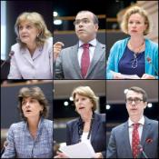 The six rapporteurs: (L-R) Elisa Ferreira, Diogo Feio, Vicky Ford, Sylvie Goulard, Corien Wortmann-Kool, Carl Haglund