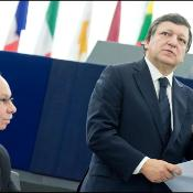 EC President Josè Manuel Barroso talks to MEPs during the debate on EC Multiannual Financial Framework