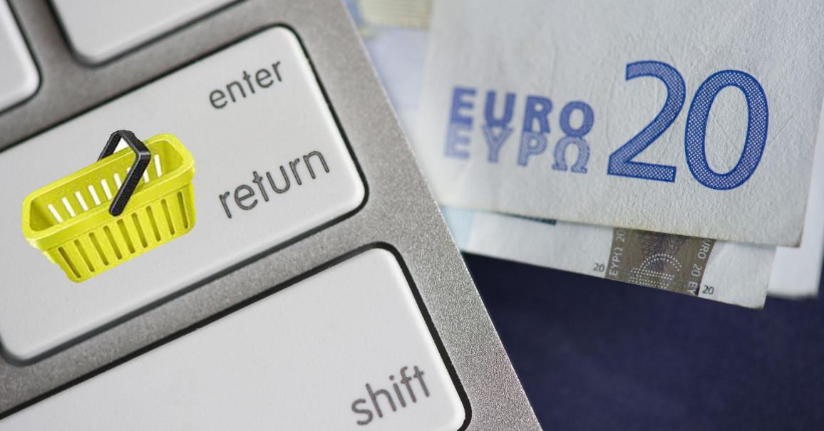 Enter key with a basket superimposed over a €20 note  ©BELGA/ANP
