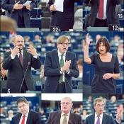 Jan Vincent-Rostowski Council Member, José Manuel Barroso Commission President, Joseph Daul EPP, Martin Schulz S&D, Guy Verhofstadt ALDE, RebeccaHarms Greens, Derk Jan Eppink ECR, Lothar Bisky GUE/NGL, Nigel Farage EFD (from top left)