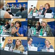 Rapporteur Sylvie Goulard answering questions from the press after the vote