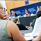 MEP reading a position paper in plenary