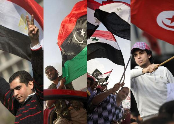 "Imagines from the celebration in the street of Egypt, Libya, Syria and Tunisia during the ""Arab spring"" revolution ©BELGA"