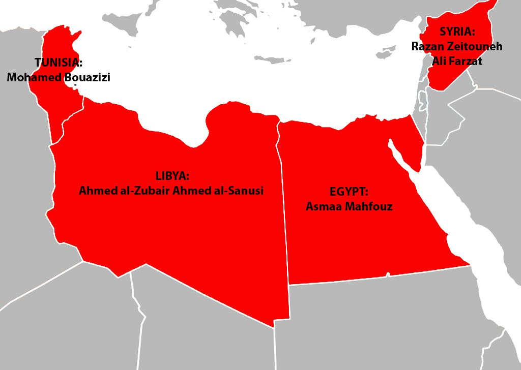 The Arab Spring wins Sakharov Prize 2011 News – Map of the Arab Spring