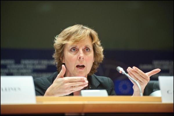 Commissioner Connie Hedegaard talking to the Environment Committee