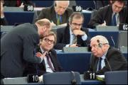 EU summit debate: three political leaders - Schulz, Verhofstadt and Daul - are discussing before taking the floor in the Chamber