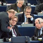 (from left to right) Socialist Martin Schulz, Liberal Guy Verhofstadt, Christian Democrat Joseph Daul