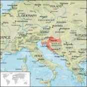 A map of Croatia in Europe