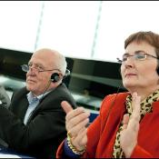 Birgit Sippel with other MEPs following the vote