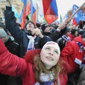 Supporters of Russian prime minister Vladimir Putin take part in a rally in central Moscow ©AFP/ALEXANDER_NEMENOV