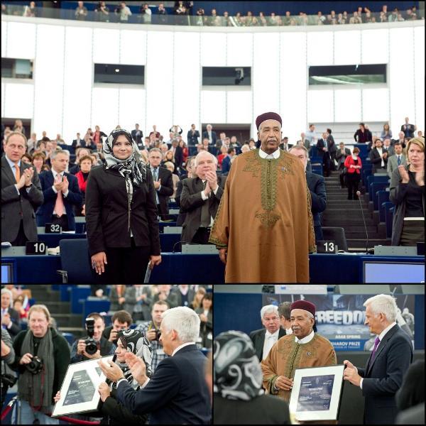 Zwei der fünf Sacharow-Preisträger 2011 im EU-Parlament: Asmaa Mahfouz (l.) und Ahmed El-Senussi