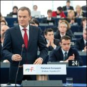 Polish Prime Minister Donald Tusk in the EP chamber for the end of the Polish presidency debate