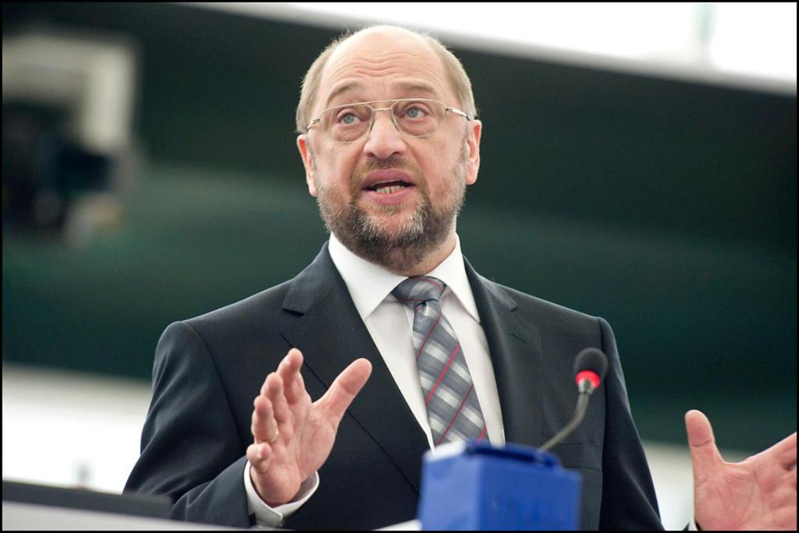 Martin Schulz at the podium in the EP