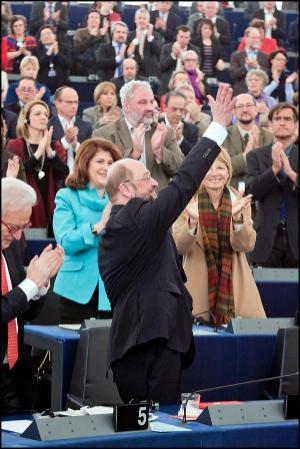 Le Président, nouvellement élu du Parlement, Martin Schulz