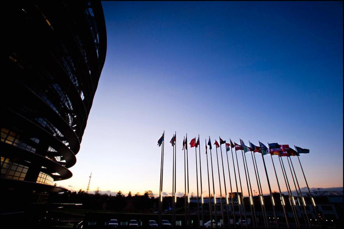 Coucher du soleil sur le Parlement européen à Strasbourg