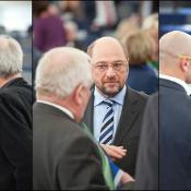 Kandidati za predsednika Parlamenta (od leve proti desni): Nirj Deva, Martin Schulz, Diana Wallis.