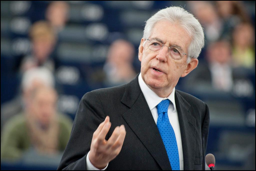 Italian Prime Minister Mario Monti addresses the EP chamber