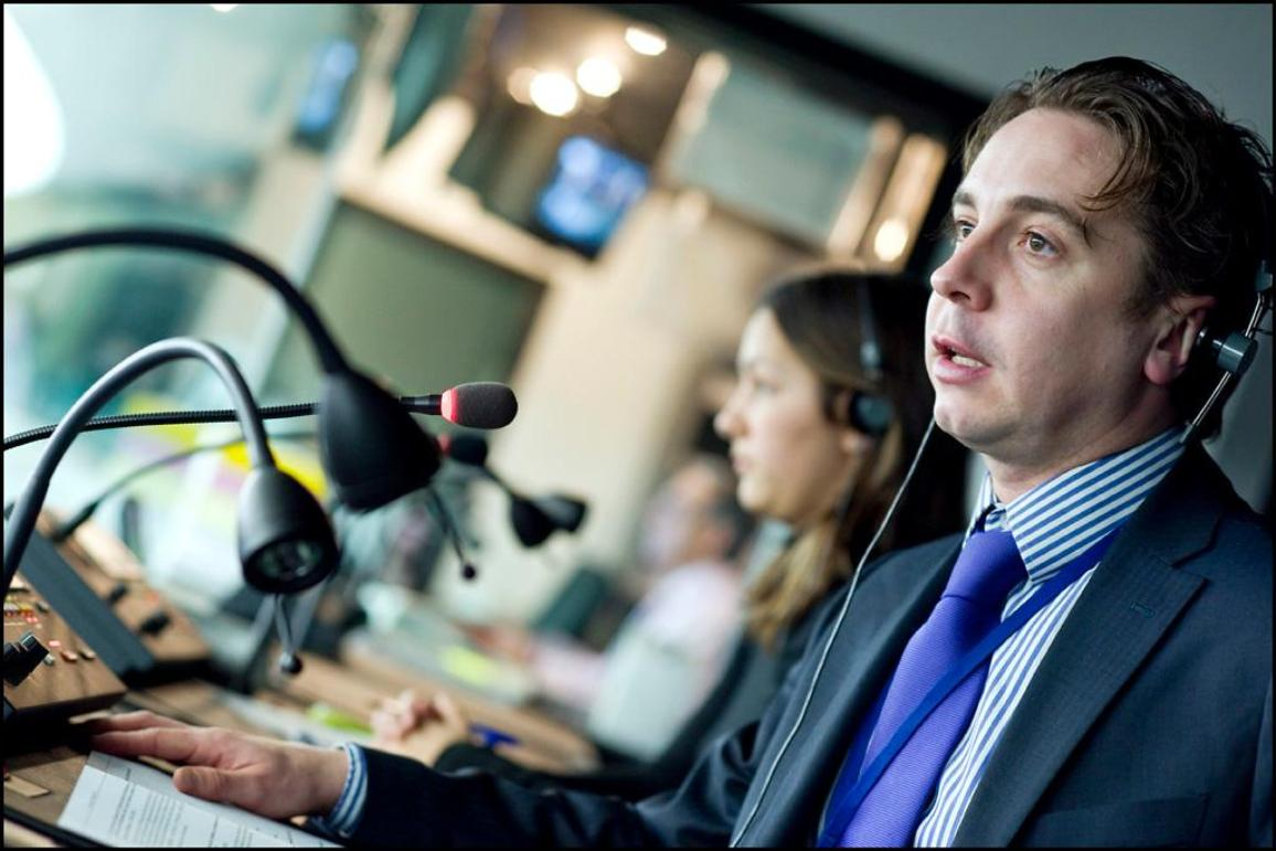 European Parliament interpreters at work
