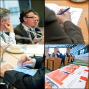 ACTA workshop at the EP. Speakers in top left photo are Karel De Gucht, EU trade commissioner; Prof. Christophe Geiger, University of Strasbourg; and Dr Michael Geist, University of Ottawa.