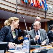 Imagen de Schulz y Thorning-Schmidt durante la apertura de la conferencia