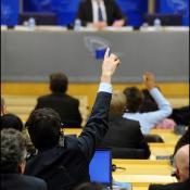 Journalistes lors d'une conférence de presse au Parlement européen.