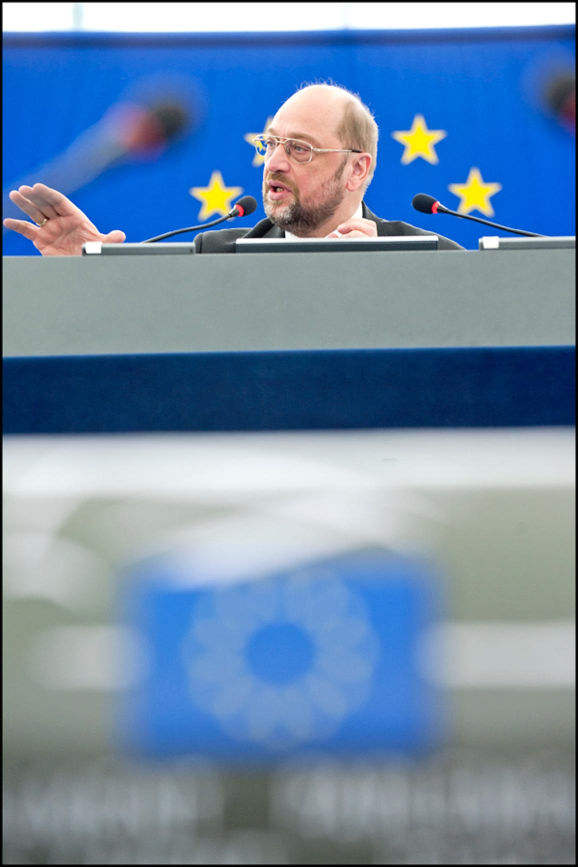 El Presidente del Parlamento Europeo, durante una de sus intervenciones en la Eurocámara