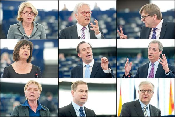 Corien Wortmann-Kool, Hannes Swoboda, Guy Verhofstadt, Rebecca Harms, Martin Callanan, Nigel Farage, Gabriele Zimmer, Nicolai Wammen, Olli Rehn