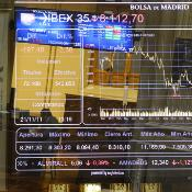 A multiexposure image shows the Ibex 35 curve at Madrid's Stock Exchange
