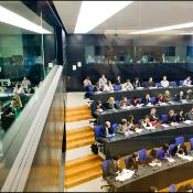 Journalists at work in the EP Press room in Strasbourg