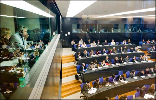 Journalisten im Europaparlament in Straßburg