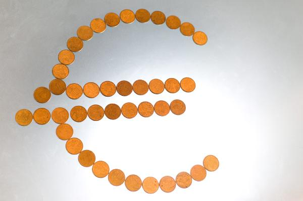 Euro coins forming the Euro symbol