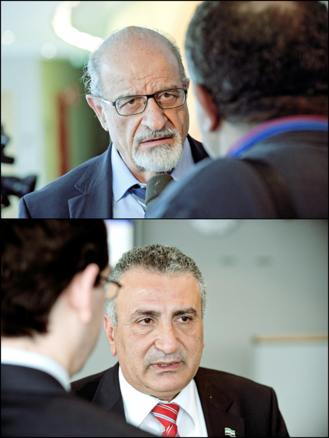 Syria debate: Haitham al-Maleh (top) and Kamal al-Labwani
