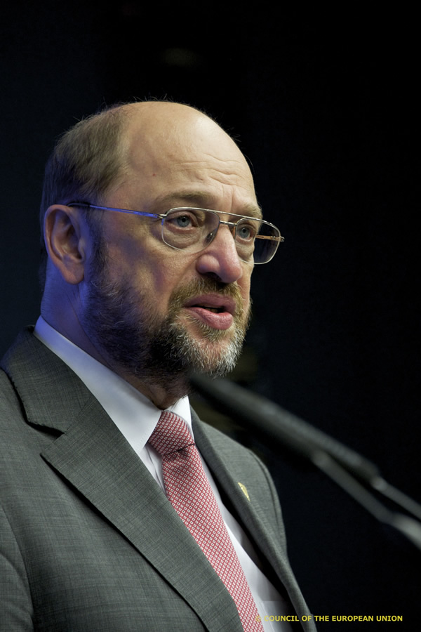 President  Martin Schulz at the press conference after the June summit