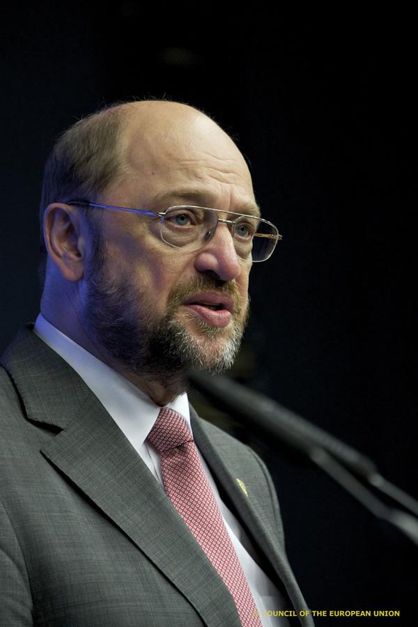 Parlamentspräsident Martin Schulz nach seiner rede vor dem EU-Gipfel in Brüssel  © Council of the European Union
