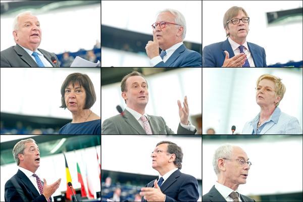 Impressionen der Debatte des EU-Gipfels im Plenarsaal des Europaparlaments
