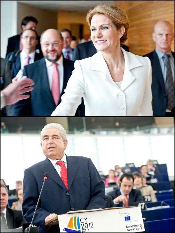 Η πρωθυπουργός της Δανίας, Helle Thorning-Schmidt και ο πρόεδρος της Κύπρου, Δ. Χριστόφιας