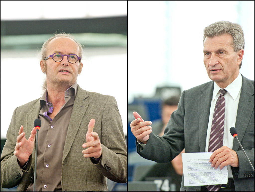 Claude Turmes and commissioner Günther Oettinger