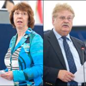 Lady Catherine Ashton EC Vice President and High Representative for Foreign Affairs and Security Policy and rapporteur Elmar Brok are pictured during the debate.