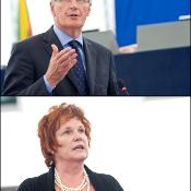 Commissioner Michel Barnier and MEP Sharon Bowles