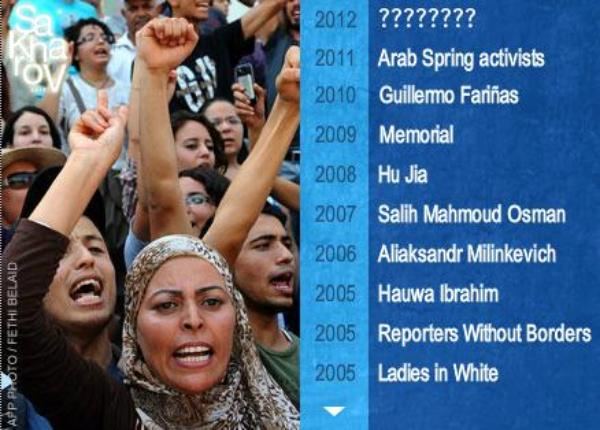 The nominations for the 2012 Sakharov Prize for Freedom of Thought are..
