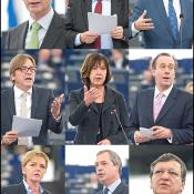From top to bottom, left to right: Herman Van Rompuy, Joseph Daul, Hannes Swoboda, Guy Verhofstadt, Rebecca Harms, Martin Callanan, Gabriele Zimmer, Nigel Farage, José Manuel Barroso