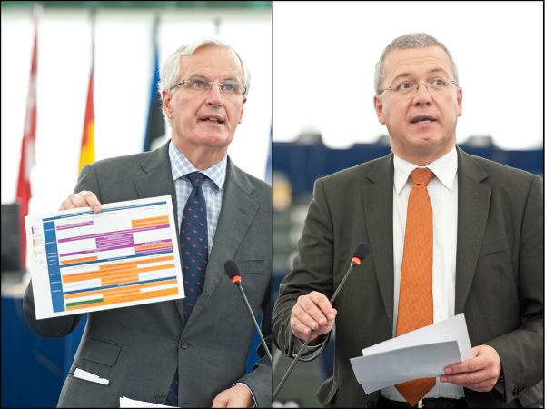 (Left) Internal market commissioner Michel Barnier and (right) MEP Markus Ferber