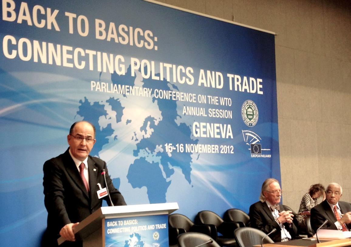 Vice-president Georgios Papastamkos at the Parliamentary Conference on the WTO annual session