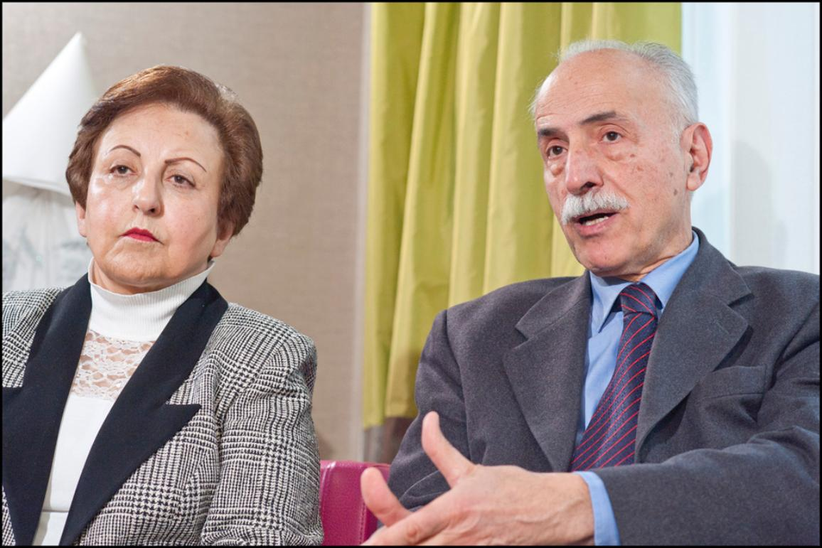 Nobel Peace laureate Shirin Ebadi (left) and Karim Lahidji, founder of the Iranian Association of Jurists and of The League for the Defence of Human Rights in Iran