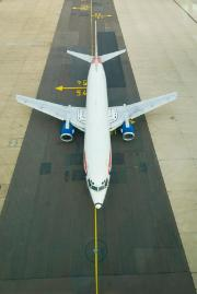 Airplane on runway at Gatwick airport