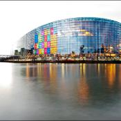 The European Parliament in Strasbourg is decked out in Nobel colours