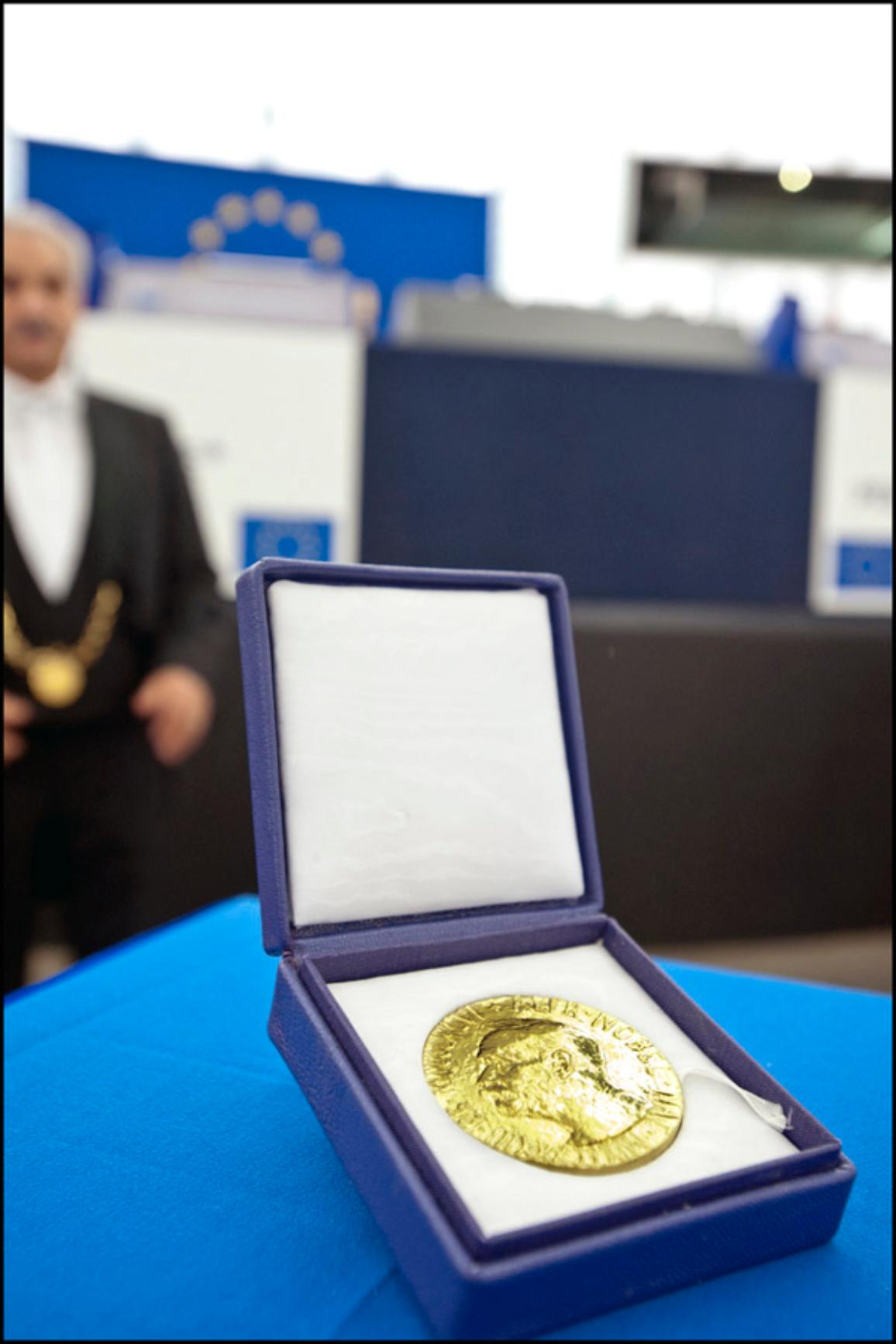 The Nobel Prize medal in the EP hemicycle