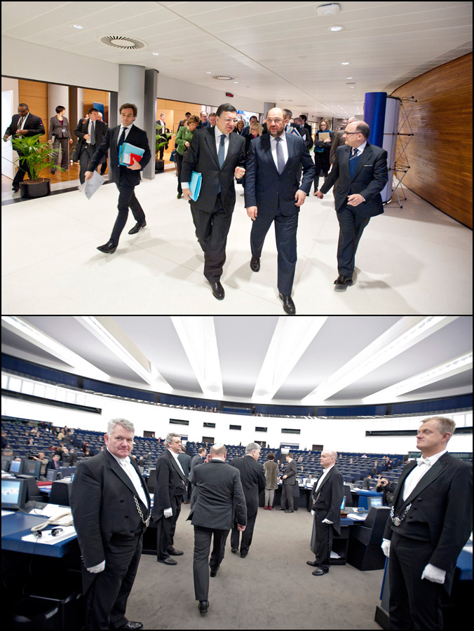 EC President Barroso and EP President Schulz entering the plenary chamber (above) A look at the hemicycle from inside (below)